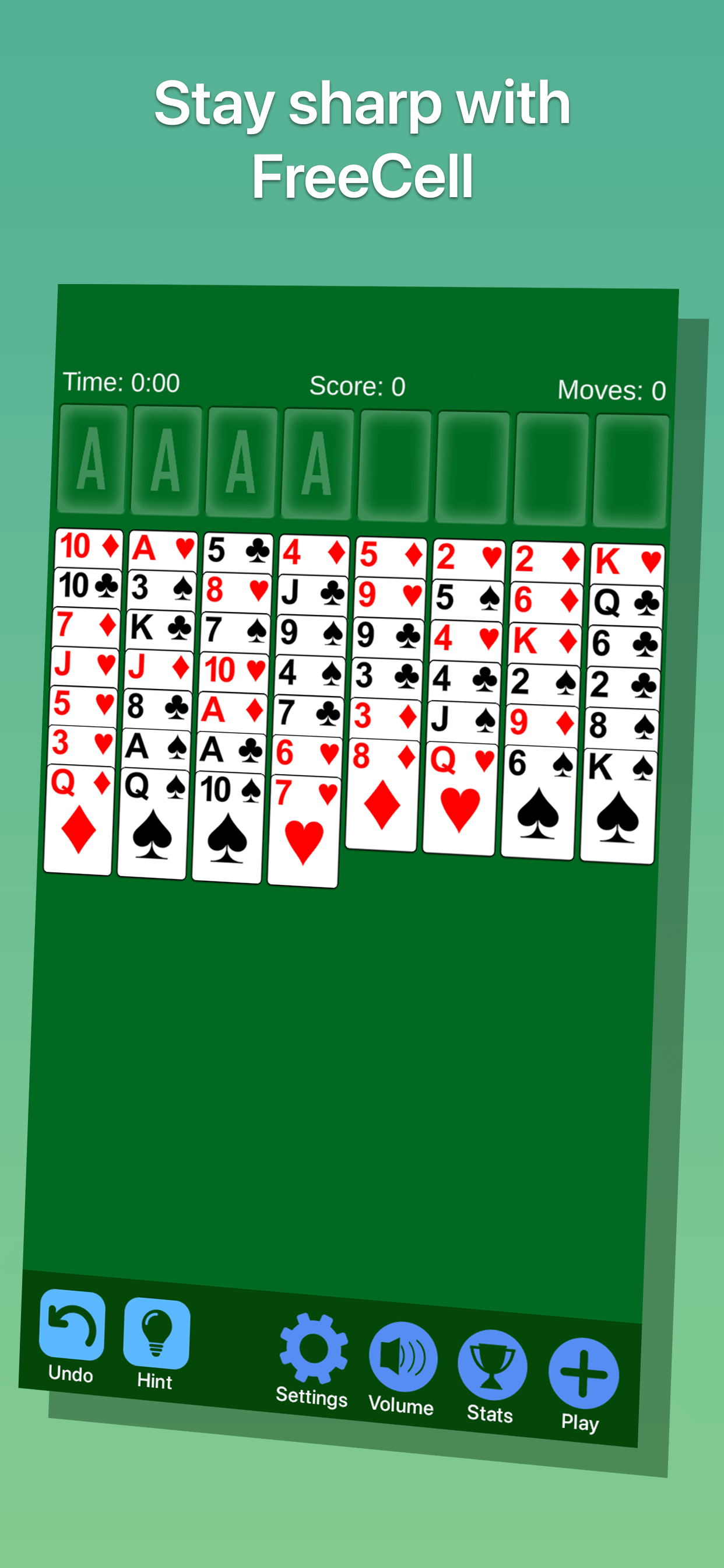 FreeCell Solitaire Game Screenshot
